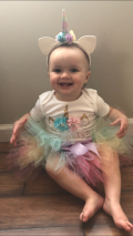 My little unicorn birthday girl! custom outfit bought off Etsy